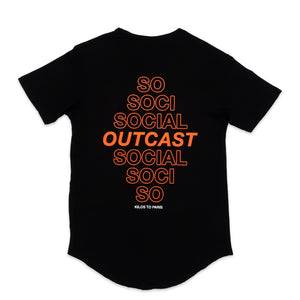 Social Outcast Scoop Tee in Black and Orange