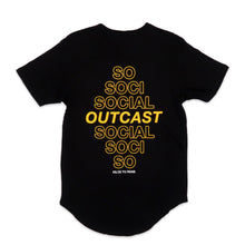 Load image into Gallery viewer, Social Outcast Scoop Tee in Black and Yellow