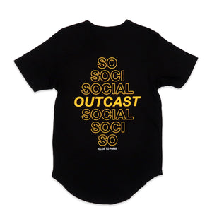 Social Outcast Scoop Tee in Black and Yellow