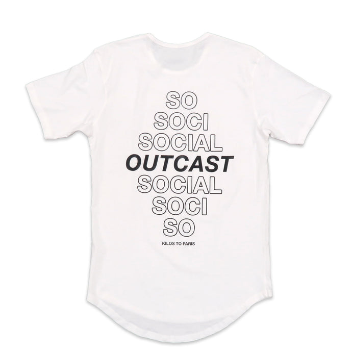 Social Outcast Scoop Tee in White and Black