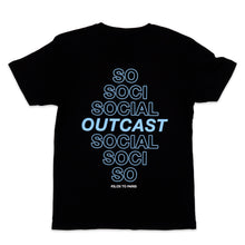 Load image into Gallery viewer, Social Outcast Tee in Black and Sky Blue