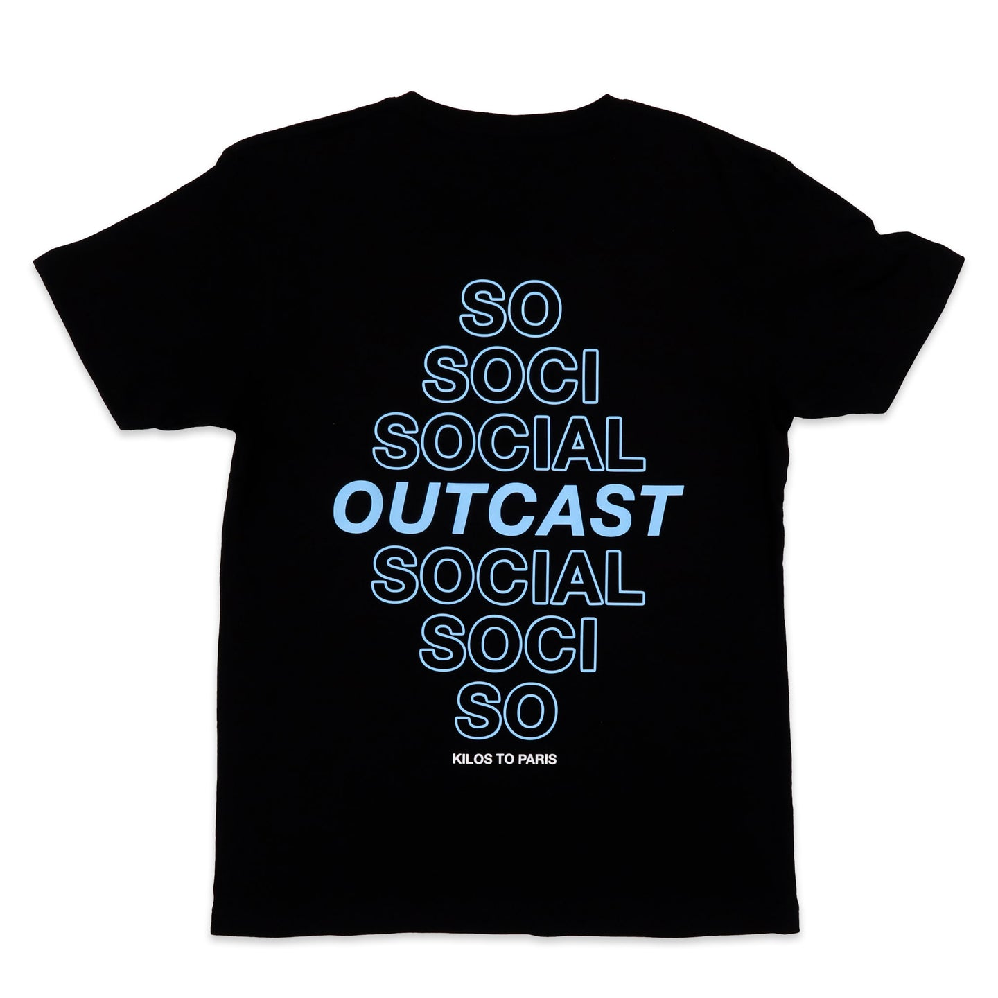 Social Outcast Tee in Black and Sky Blue