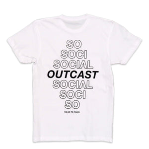 Social Outcast Tee in White and Black