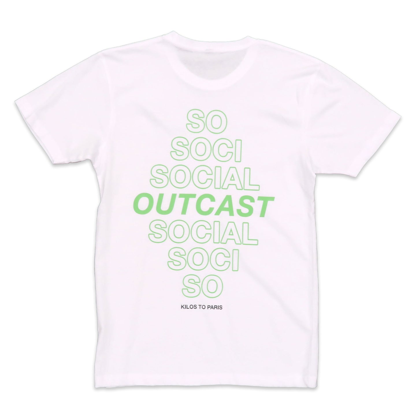 Social Outcast Tee in White and Green