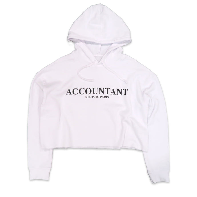 Accountant Crop Hoodie in White