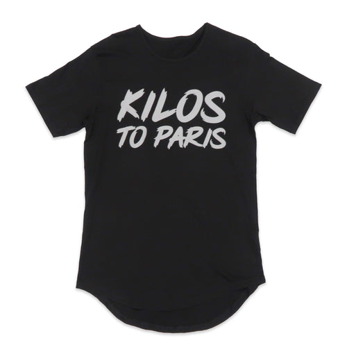 Basic Kilos To Paris Scoop Tee in Black and Gray