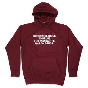 Congratulations To Drugs Hoodie in Burgundy