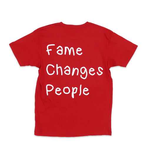 Fame Changes People Tee in Red and White