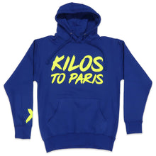 Load image into Gallery viewer, Kilos To Paris V2 Hoodie in Blue and Neon Yellow