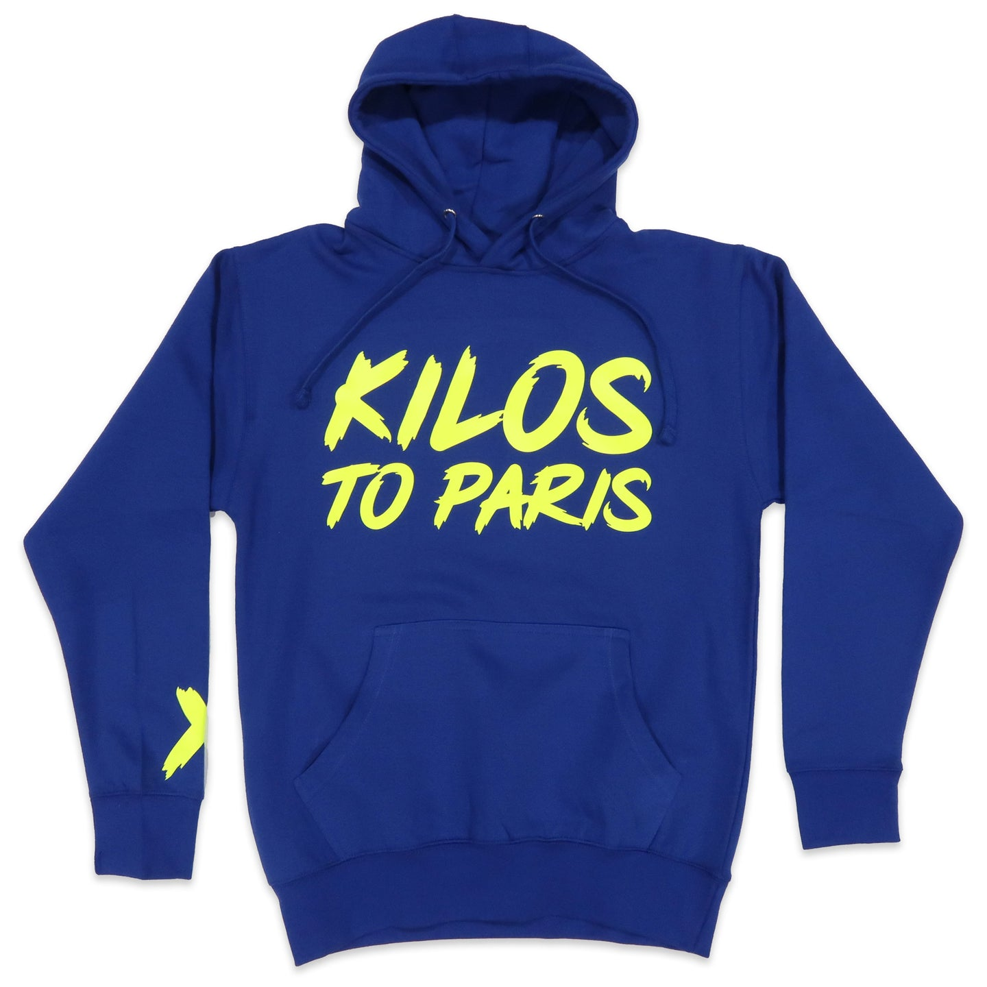 Kilos To Paris V2 Hoodie in Blue and Neon Yellow