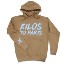 Load image into Gallery viewer, Kilos To Paris V2 Hoodie in Khaki and Light Blue