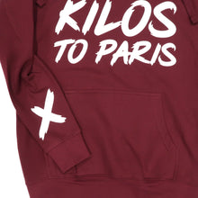 Load image into Gallery viewer, Kilos To Paris V2 Hoodie in Burgundy and White