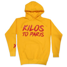 Load image into Gallery viewer, Kilos To Paris V2 Hoodie in Yellow and Red