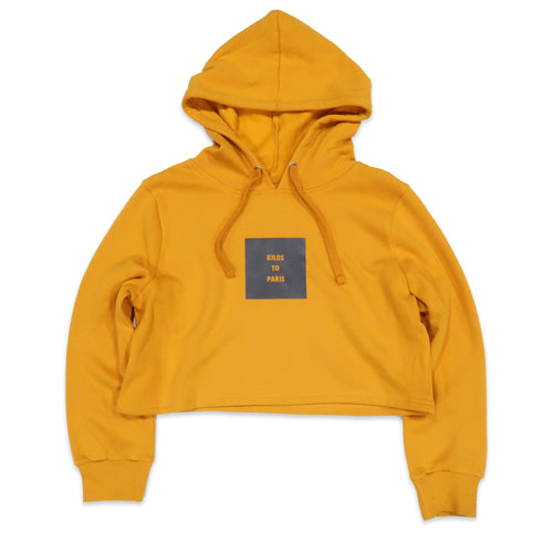 Kilos To Paris Crop Hoodie in Yellow