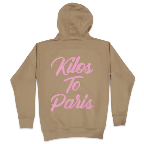Cursive Kilos To Paris Hoodie in Khaki and Pink