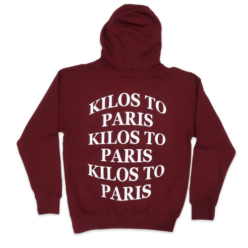 Kilos Hoodie in Burgundy and White