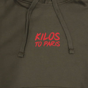 Kilos To Paris Hoodie in Olive and Red
