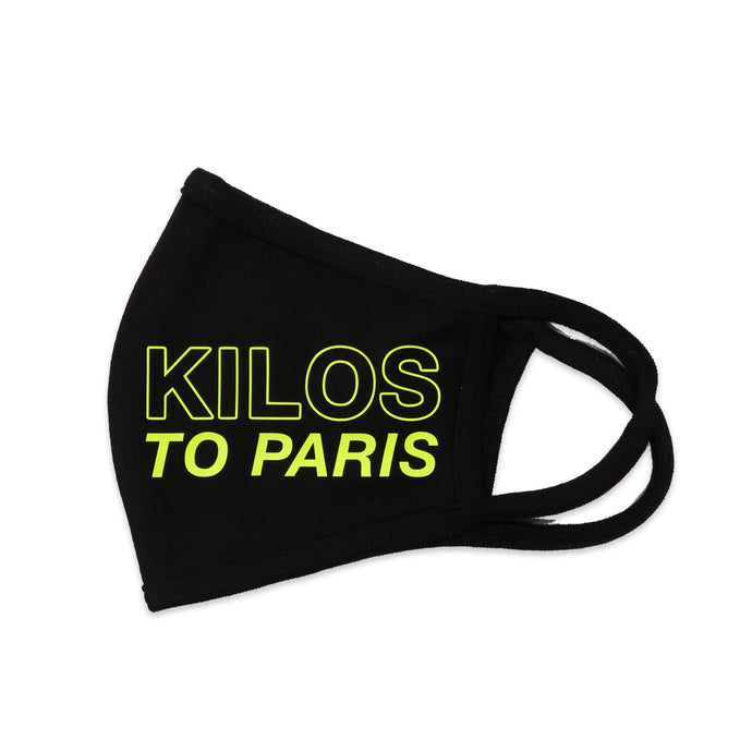 Kilos to Paris Face Mask in Black and Neon Yellow