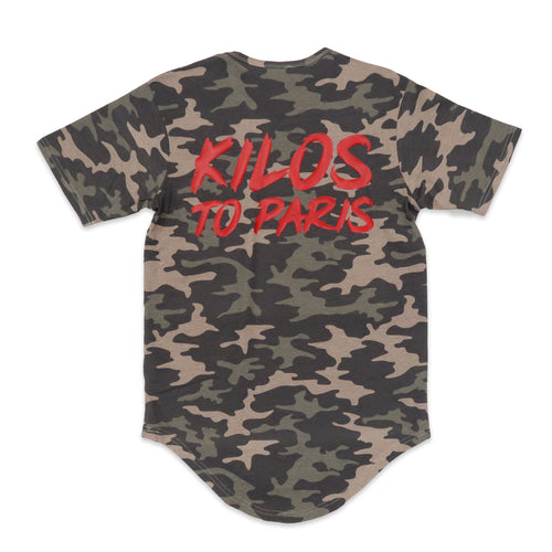 Kilos To Paris Scoop Tee in Camo and Red