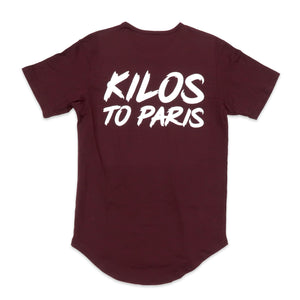 Kilos To Paris Scoop Tee in Burgundy and White