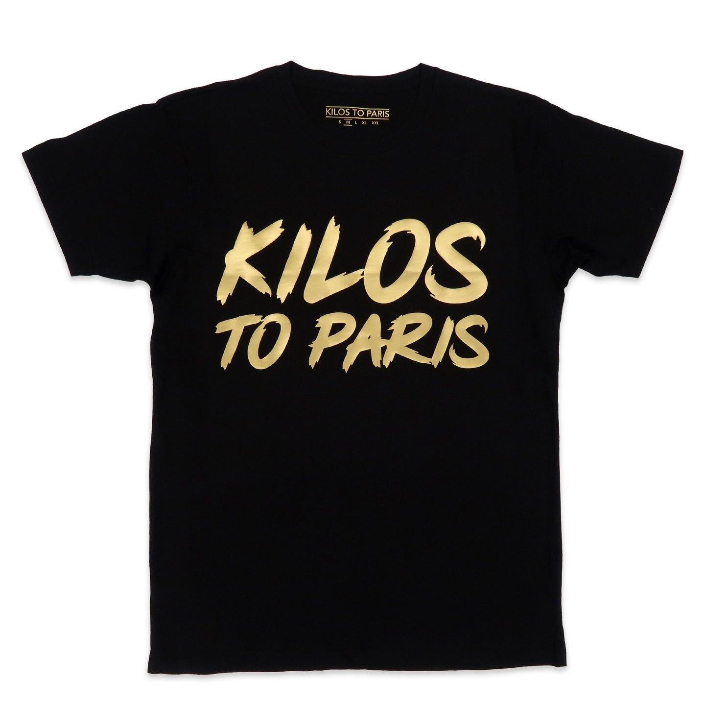 Kilos To Paris Tee in Black and Gold