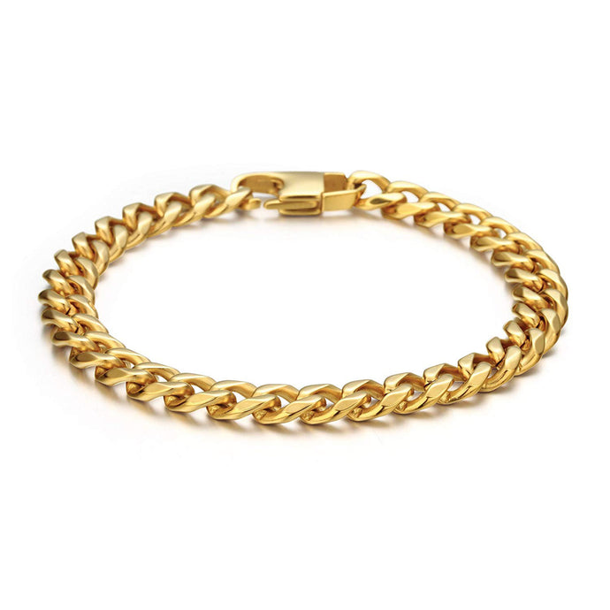 Wide Curb Chain Bracelet in Gold
