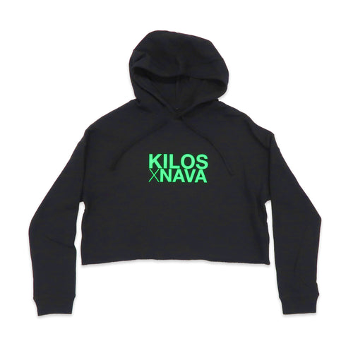 Kilos X Nava Crop Hoodie in Black and Green