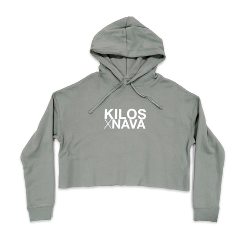 Kilos X Nava Crop Hoodie in Sage and White