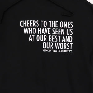 Cheers Crop Hoodie in Black and White
