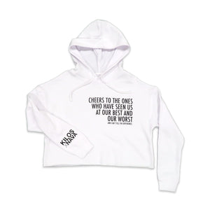 Cheers Crop Hoodie in White and Black