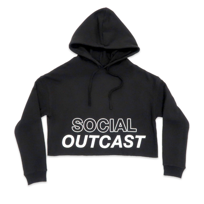 Social Outcast Crop Hoodie in Black and White