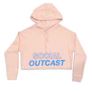 Social Outcast Crop Hoodie in Blush and Blue