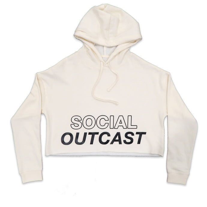 Social Outcast Crop Hoodie in Bone and Black