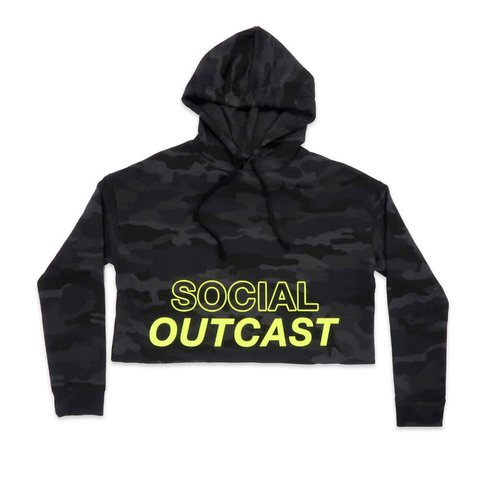 Social Outcast Crop Hoodie in Dark Camo and Neon Yellow