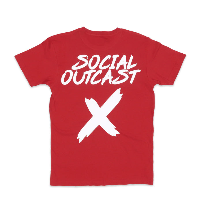 Social Outcast Basic Tee in Red and White