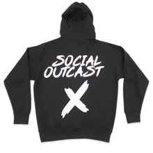 Load image into Gallery viewer, Social Outcast Hoodie in Black and White
