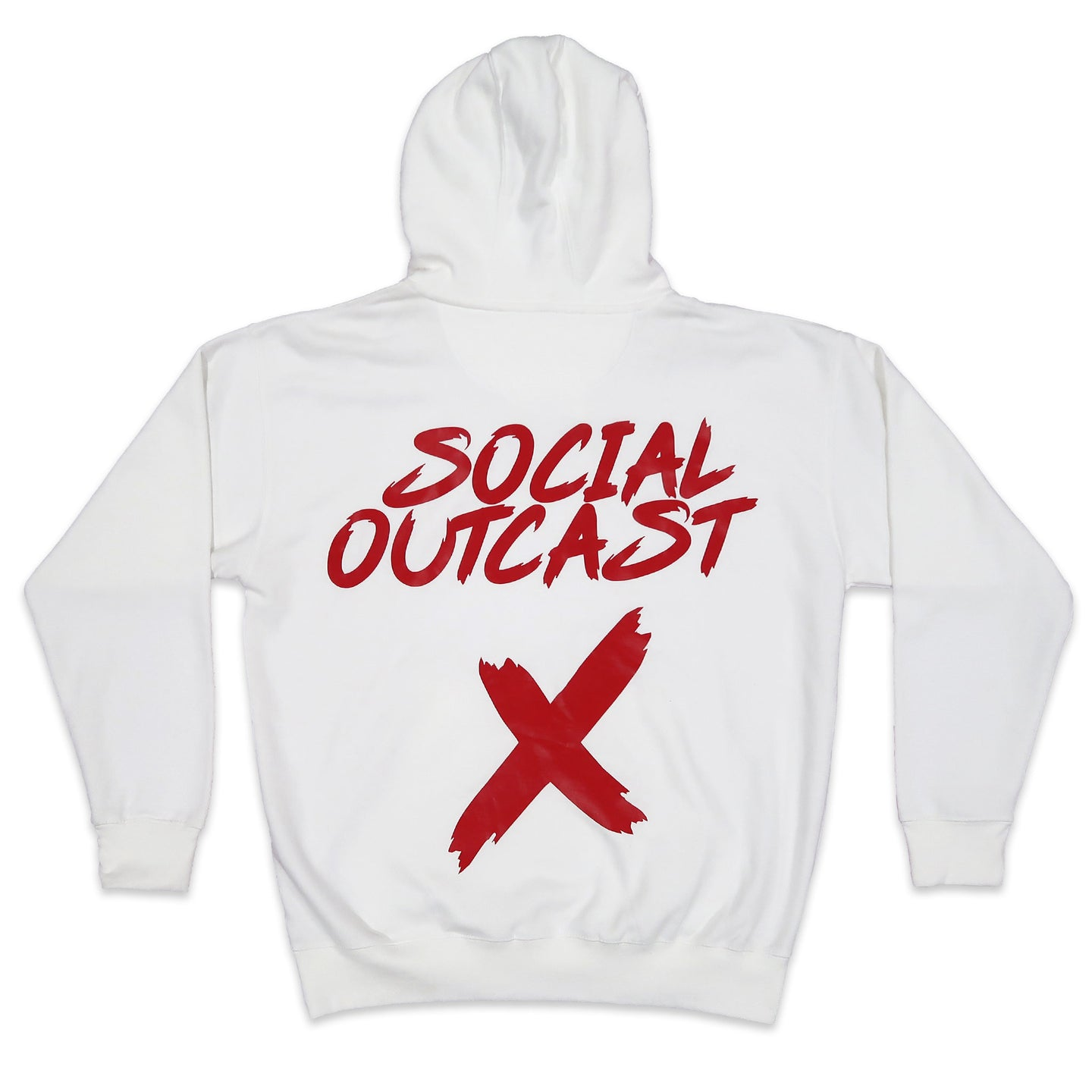Social Outcast Hoodie in White and Red