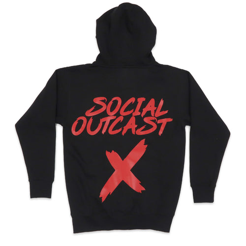 Social Outcast Hoodie in Black and Red