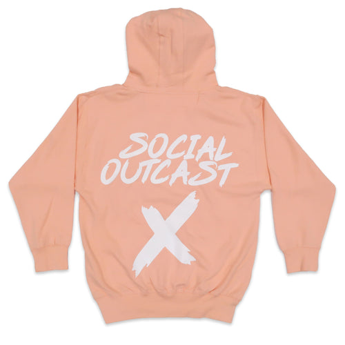Social Outcast Hoodie in Pink and White