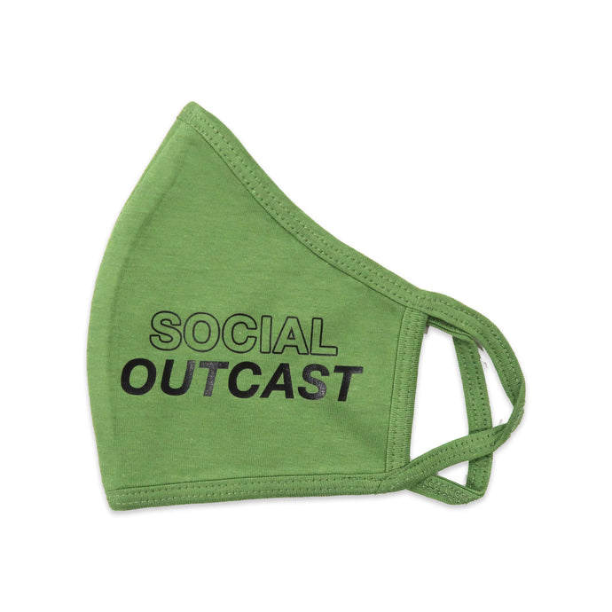 Social Outcast Face Mask in Green and Black