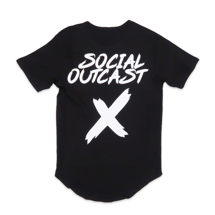 Social Outcast Scoop Tee in Black and White