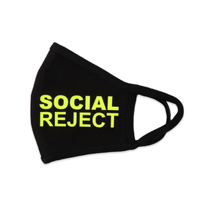 Social Reject Face Mask in Black and Neon Yellow