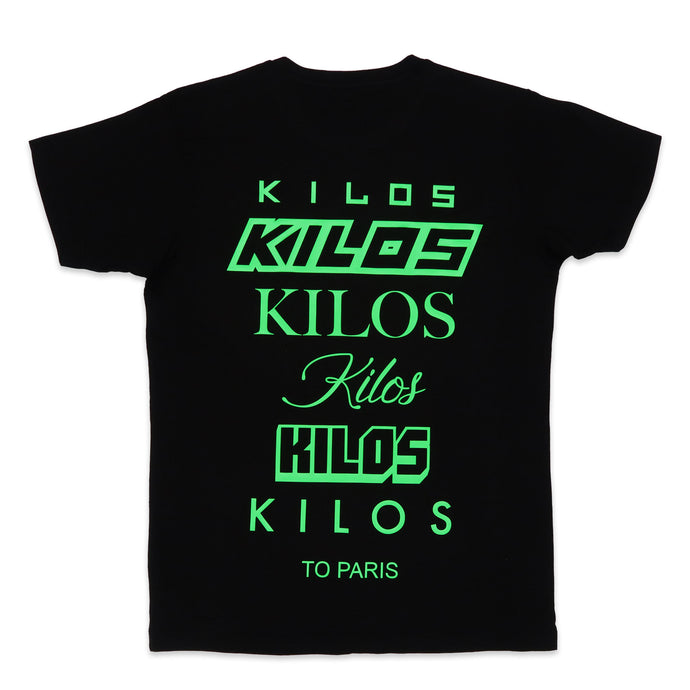 Stacked Kilos Tee in Black and Neon Green