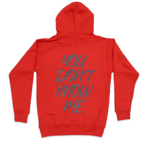 You Don't Know Me Hoodie In Red and Charcoal