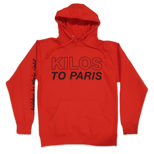 Hidden in Plain Sight Kilos To Paris Hoodie in Red