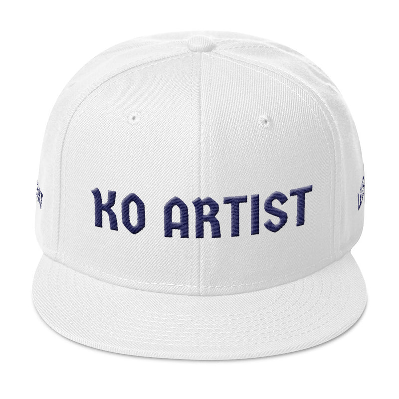 Combat Legend Knockout Artist Navy Blue on White 3D Puff Snapback 2