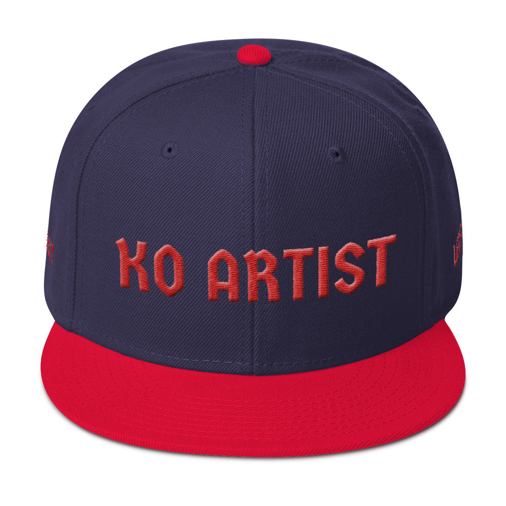 Combat Legend Knockout Artist Red on Black 3D Puff Snapback 2