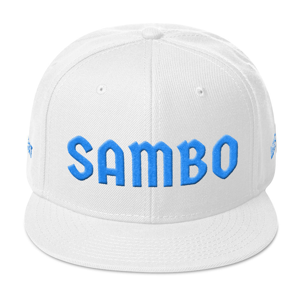 Combat Legend Sambo Baby Blue on White 3D Puff Snapback 2