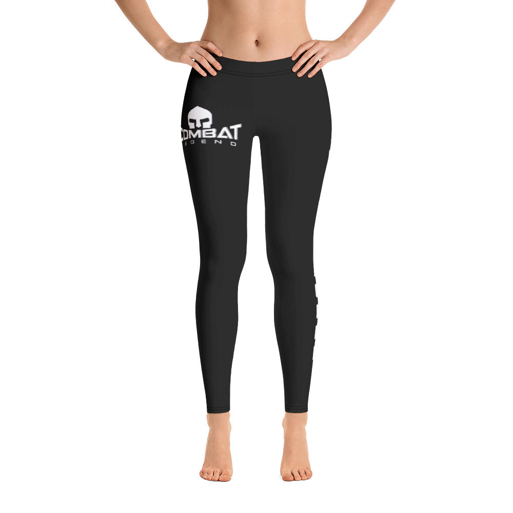 Combat Legend White on Black Leggings