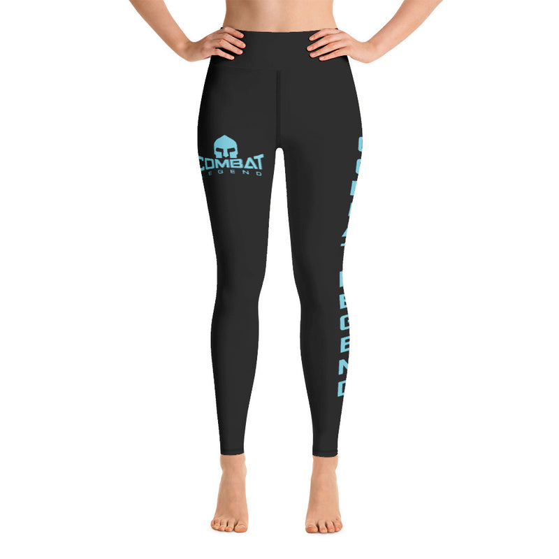 Combat Legend Light Blue on Black High Rise Leggings